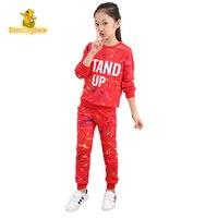 DancingBear çocuk Giysi Ilkbahar Ve Sonbahar kızlar 100% Pamuk giyim çocuk giysileri setleri çocuk 2 adet Graffiti spor suit