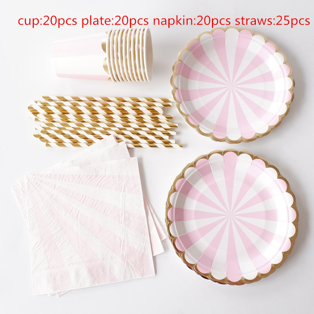 85pcs stripe disposable paper plates cups napkins straw kids party tableware sets kids birthday bridal shower