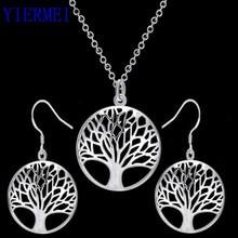 Круглый полый кулон с деревом желаний, ожерелье с кулоном древо жизни, Серебряное ювелирное изделие, модная Милая Свадебная часть