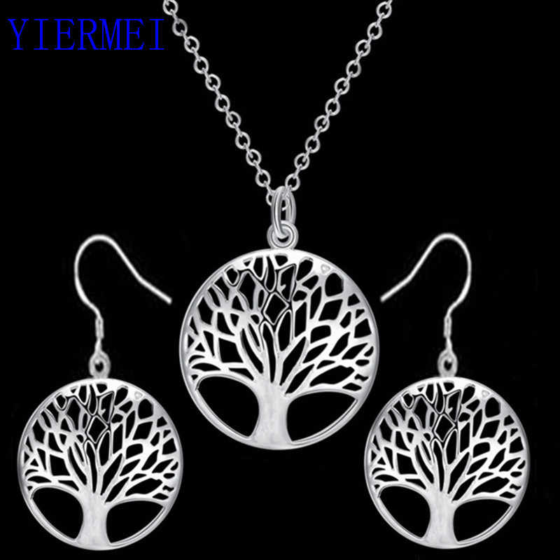 2019 round hollow wishing tree pendant necklace life tree Tree Of Life pendant necklace silver jewelry fashion cute wedding part