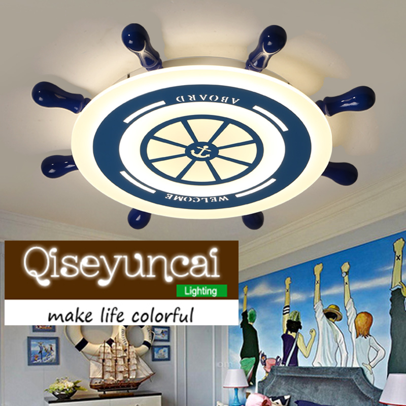 2018 new Creative children room simple childlike boy girl light ship rudder Mediterranean Blue LED bedroom ceiling lamps creative cartoon ceiling lamp smd led electrodeless dimmable air plane shape light study children boy girl room bedroom