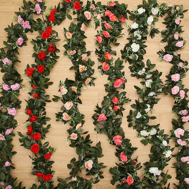 2PC 2.4M 11Heads Fake Silk Roses Ivy Vine Artificial Flowers with Green Leaves For Home Wedding Decoration Hanging Garland Decor