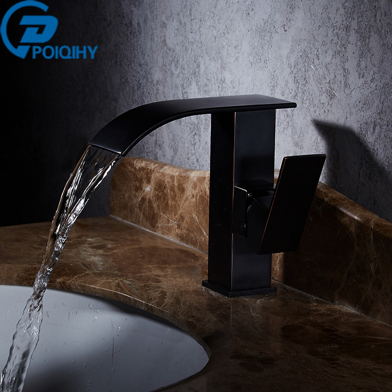Oil Rubbed Bronze Basin Faucet Waterfall Single Handle Vanity Sink Mixer Taps Deck Mounted Basin Bathroom Faucet deck mount countertop bathroom kitchen faucet single handle tall basin sink mixer taps oil rubbed bronze