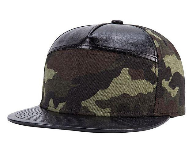 7d3684d30f4 Black Faux Leather Camouflage Baseball Caps Bone Visor Hat Supreme Snapback  Cap For Men Women Caps