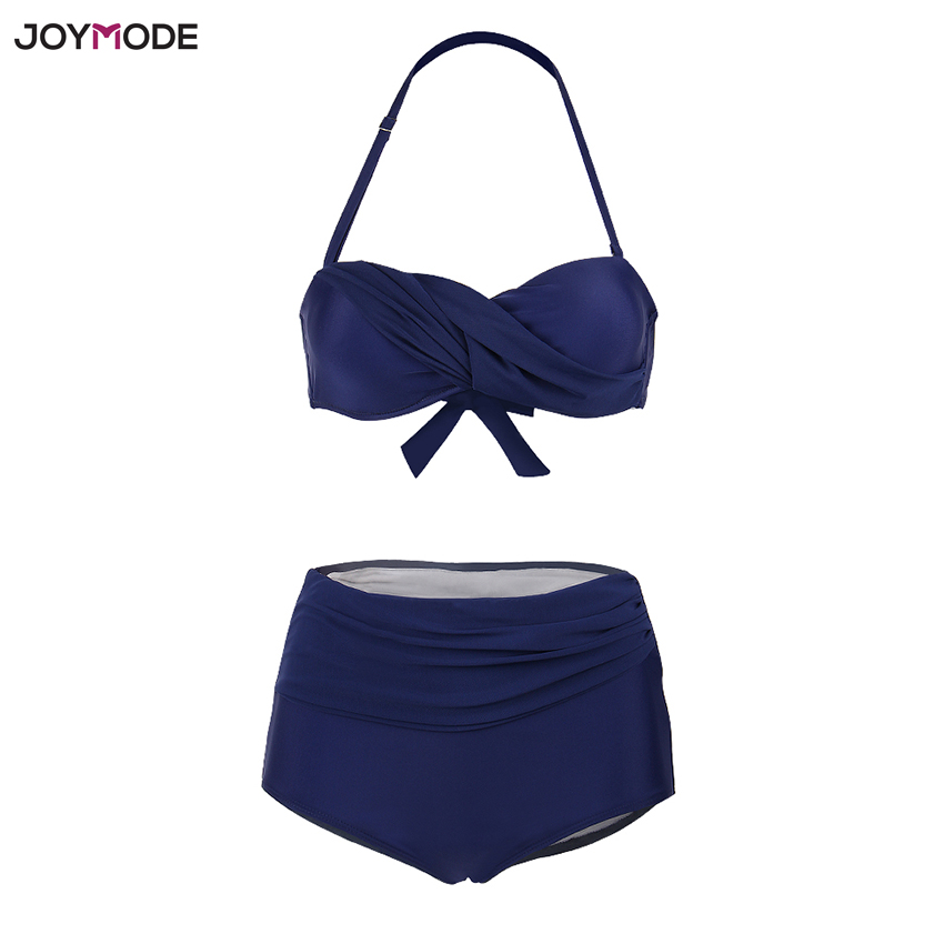 JOYMODE Beach Wear Halter Neck Push Up Bra <font><b>Bikinis</b></font> 2018 Mujer <font><b>Cintura</b></font> <font><b>Alta</b></font> Two Pieces <font><b>Sexy</b></font> Bathing Suit Women <font><b>Bikini</b></font> Set 3XL image