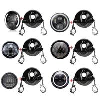 7 INCH LED Motorcycle Headlight Daymaker Black For Harley Motorcycle LED Headlight Bucket Housing Mount Bracket