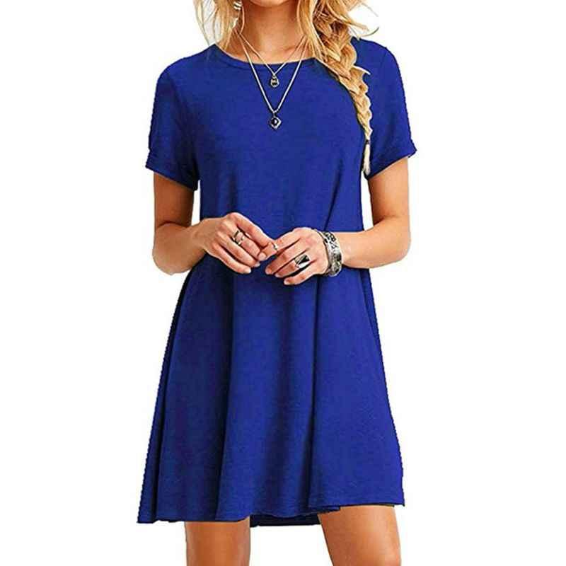 Womens verão plus size mangas curtas mini swing camisa vestido simples cor sólida tripulação pescoço casual pulôver túnica tops vestidos