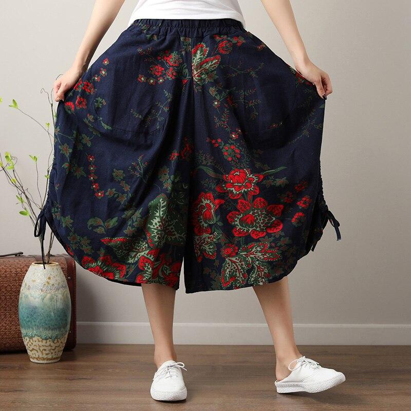 Autumn Vintage Retro Bohemian Hippie Boho Punk Gypsy Floral Print Harem Cotton Linen   Wide     Leg     Pants   Women Trousers Summer Capris
