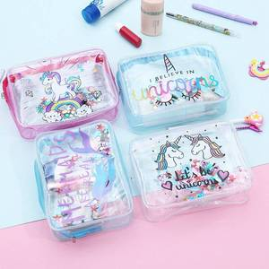 New 2019 PVC Unicorn Transparent Cosmetic Bag For Women Girl Make Up Zipper Waterproof Travel Toiletry Bag Kit Makup Box(China)