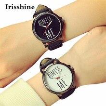 Irissshine i06 1 шт. часы унисекс для пары мужчин леди любителей моды для мужчин женщин кожаный ремешок Кварцевые аналоговые наручные часы A30