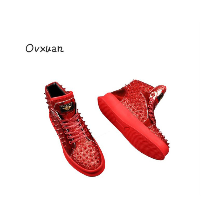 Ovxuan Spikes and Rivets Flat Shoes Gold Triangle Fashion Party Men Dress Shoes Leather Casual Sneakers Men High Platform Shoes valstone 2018 men leather casual shoes hip hop gold fashion sneakers silver microfiber high tops male vulcanized shoes sizes 46