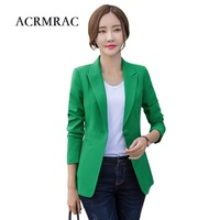 ACRMRAC Women S Clothing Long Sleeves Slim Long Section Solid Color Casual Suits Jacket