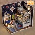 Nueva 1:22 casa de muñecas Miniatura casa de muñecas de madera incluye muebles, luz, cubierta de polvo en Miniatura accesorios de casa de muñecas ToyGift