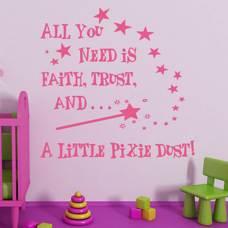 A Little Pixie Bust And Star Wall Sticker Princess Bedroom Wall Decor Vinyl  DIY Art Wall