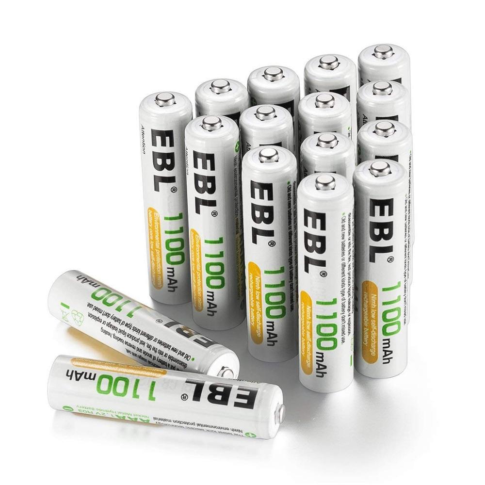 EBL Rechargeable AAA Batteries 16 Counts High Capacity 1100mAh Ni MH