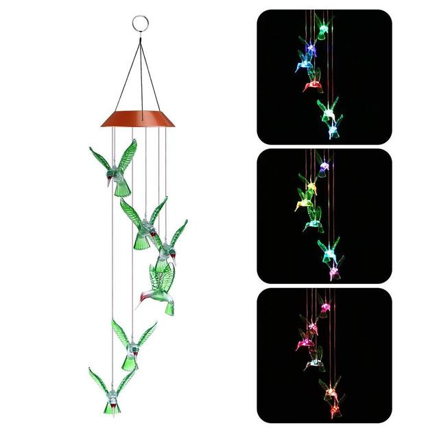 Led Wind Dream Catcher Chime Color Changing Solar Hummingbird Lamp Garden Outdoor Decor Light