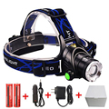 3 Modes  CREE XML T6 2000LM LED Headlamp Rechargeable Headlight Head Lamp Spotlight For Fishing+Charger(US EU UK)+2 PCS 18650