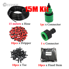 Muciakie 25m Diy Drip Irrigation System Automatic Watering Garden Hose Micro Kits Adjustable Drippers