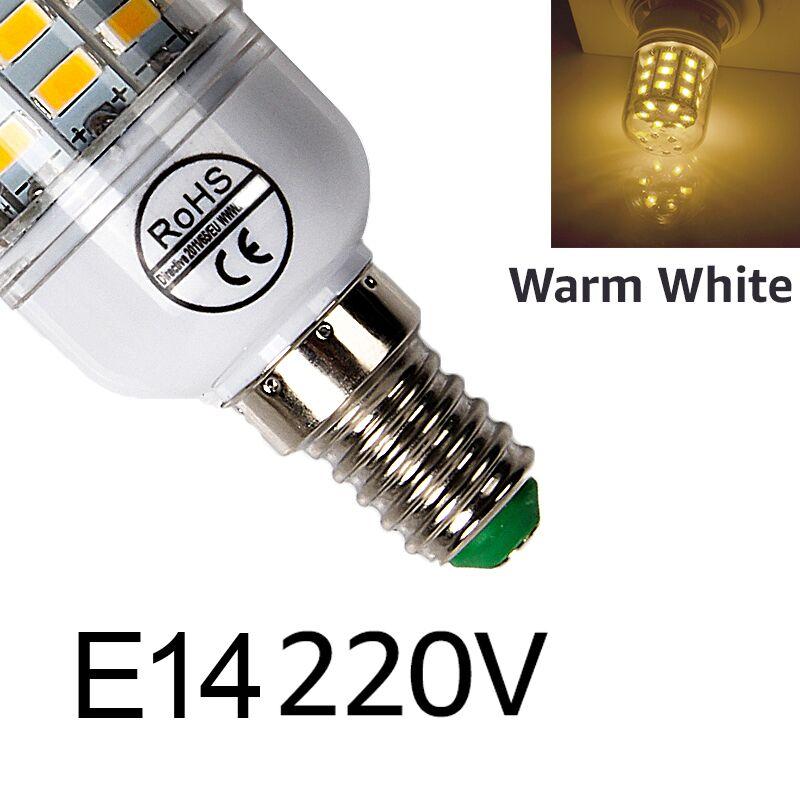 E27 светодиодный светильник E14 светодиодный лампы SMD5730 220V лампы кукурузы 24 36 48 56 69 72 светодиодный s люстры лампы в форме свечи светодиодный светильник для украшения дома ампулы - Испускаемый цвет: E14warm white