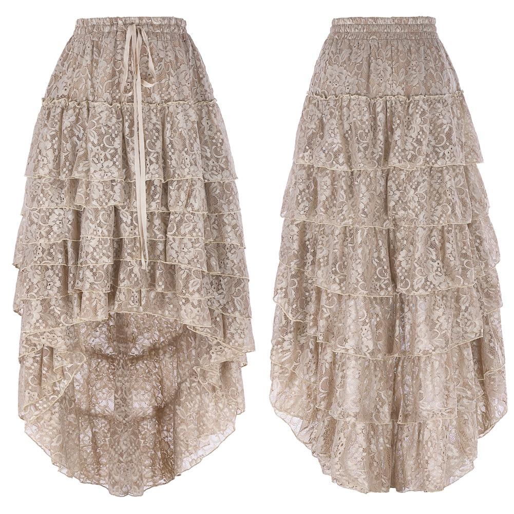 2018 Steampunk Fluffy Skirt Tan Retro Ruffled Chiffon Cake High Low Lace Midi Skirt Plus Size Fluffy Skirt for Women Ball Gown