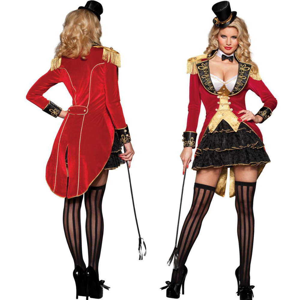 Carnival Ringmaster Ladies Fancy Dress Circus Lion Tamer Womens Adults Costume M8827