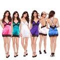 Beleza de Volta Sexy Camisola de Cetim de Seda das mulheres Pijamas Frete Grátis Rendas Elegante Bandagem MINI Sleepwear Com Decote Em V Correias