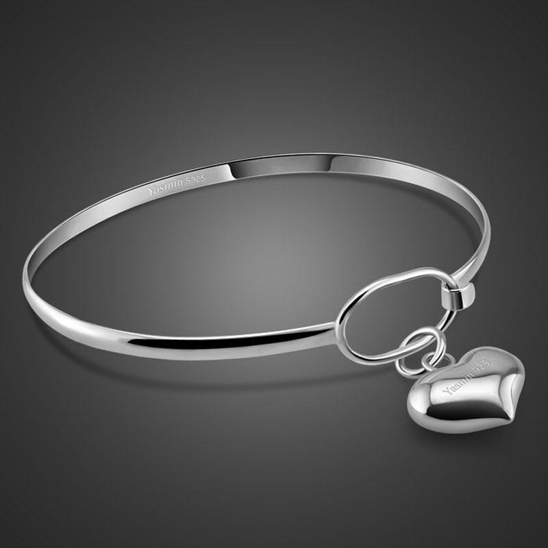 Simple and fashionable bracelets solid 925 silver women's bracelet heart-shaped pendant bracelet ladies' pure silver jewelry