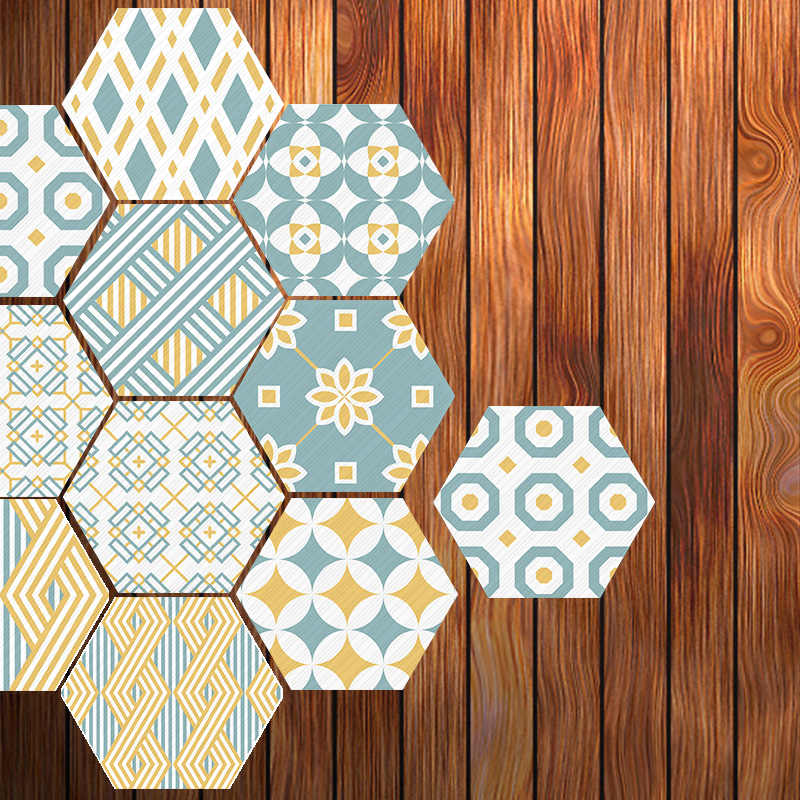 Geometric Wall Sticker 10Pcs PVC Tile Self Adhesive Hexagon Tile Stickers Anti Skid DIY Floor Decal Home Decoration Accessories
