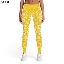 KYKU Pattern Leggings Women Ink Ladies Art Leggins Yellow Trousers Abstract Printed pants Womens Leggings Pants Jeggings Slim vintage abstract print jeggings
