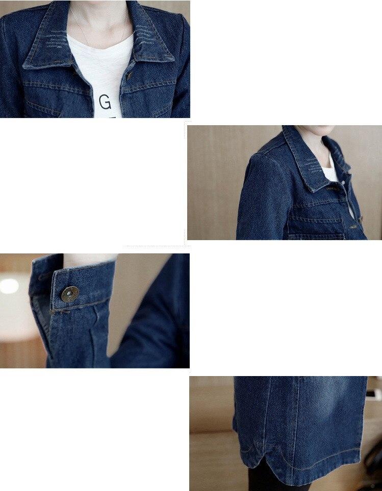 HTB1c7b7pnJYBeNjy1zeq6yhzVXa5 Autumn Winter Korean Denim Jacket Women Slim Long Base Coat Women's Frayed Navy Blue Plus size Jeans Jackets Coats Cool 5XL A364