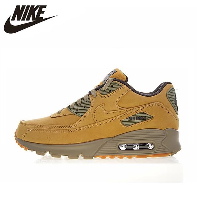 Nike Air Max 90 invierno PRM hombres y mujeres zapatillas de correr, amarillo, caliente la absorción de choque resistencia al impacto antideslizante 683282, 700