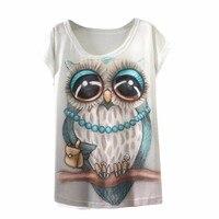 Vintage Summer T Shirt Women Clothing Tops Animal Owl Cat Print T-shirt 2017 New