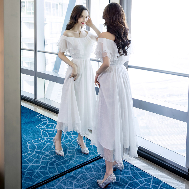 Grande taille a-ligne robe 2019 été femmes blanc à manches courtes volants Slash cou plage Boho longue robe élégante Maxi robe dames