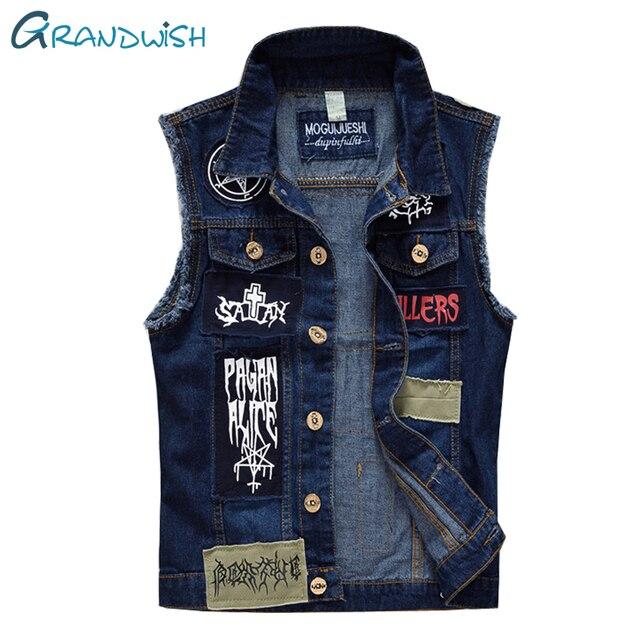 Grandwish Ripped Denim Gilet per Gli Uomini Patch Jeans di Disegno Della  Maglia Uomini Cowboy Gilet 933b374f0e3
