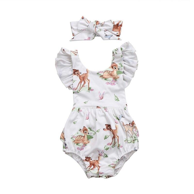 Summer Baby Girl   Romper   Newborn Toddler Baby Girls Deer Ruffles Sleeveless   Romper   Jumpsuit +Headband Clothes 0-18M