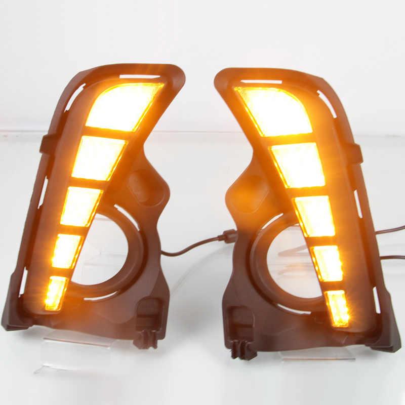 LED Daytime Running Light For Toyota Highlander 2018 2019 Waterproof 12V Yellow Turn Signal Indicator Light Bumper LED DRL