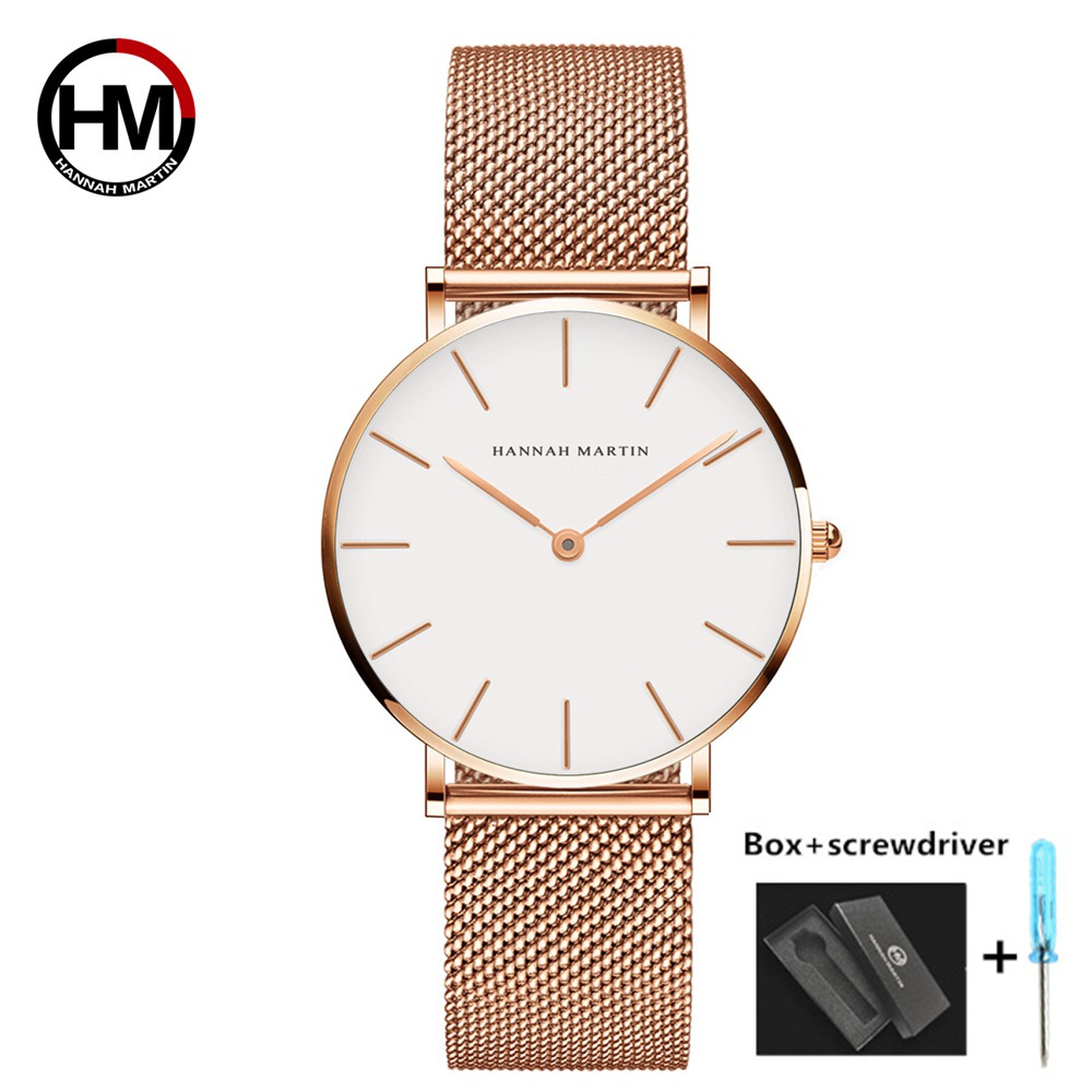Dropshipping High Quality DW Watch Style Japan Quartz Movement Mesh Ladies Women Watch Stainless Steel Rose Gold Waterproof