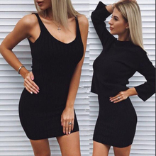 Womans Sweater + Straped Dress Sets Solid Color Female Casual Two-Pieces Suits Loose Sweater Knit Mini Dress Winter