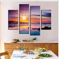4 Pcs/Set Combined Landscape Painting Colorful Sunset Glare Decorative Picture Canvas Wall Art Picture