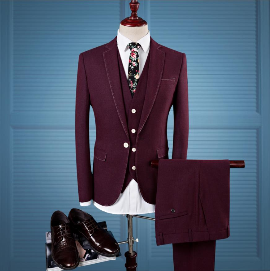 Jacket+Vest +Pants)2019 Custom Slim Fit Men Casual Business Suits Jacket Men's Wool Suits Wedding Suit Men Costume Homme Mariage