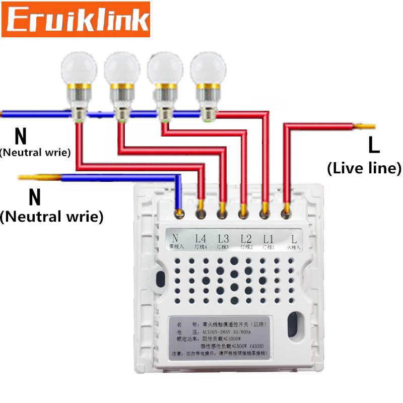 UK Standard Wall Touch Switch 4 Gang 1 Cara Kristal Kaca Tempered RF433 Remote Kontrol Nirkabel Switch Lampu