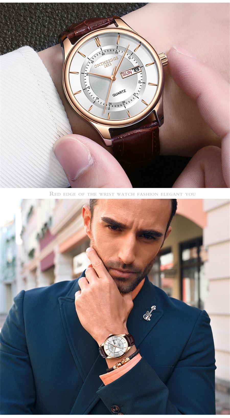 HTB1c7c.iFGWBuNjy0Fbq6z4sXXam High Quality Rose Gold Dial Watch Men Leather Waterproof 30M Watches Business Fashion Japan Quartz Movement Auto Date Male Clock