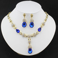 2016 Nigeria beautiful women wedding jewelry set Gold plated plated necklace earrings Crystal  Necklace Gift Accessories