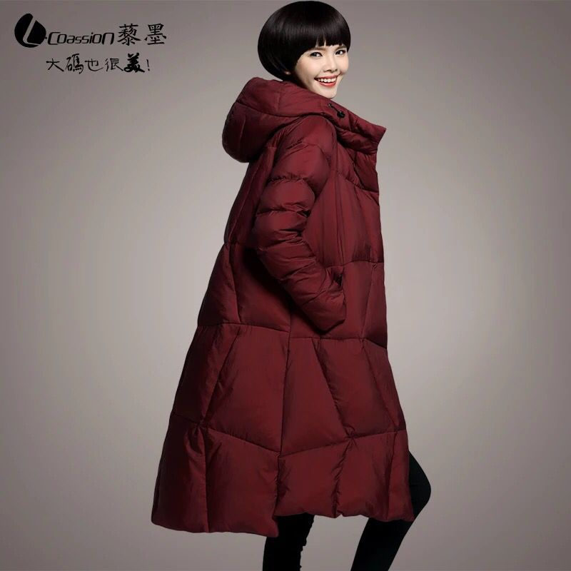Plus Size M~5XL Women's Winter Parkas Long Duck   Down   Thick Jackets Hood Fashion Red Wine Color 2018 Loose Female Outerwear   Coats