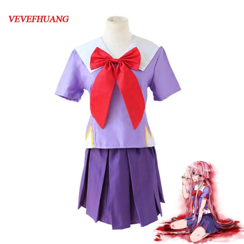 VEVEFHUANG Women Halloween Anime Future Diary 2nd Mirai Nikki Yuno Gasai Costume Cosplay