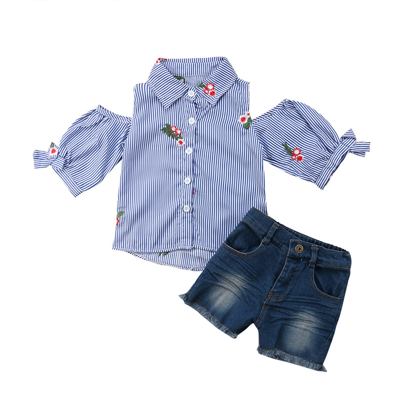 Kids Baby Girls Off Shoulder Striped Tops T-shirt Denim Pants 2PCS Outfit Set Casual Summer Striped Childrens Sets Blue 1T-5T