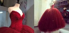 2015 Bridal Ball Gown Glamorous Hand Made Sequins Pearls Elegant Sheer Sweetheart Bandage Puffy Wedding Dresses