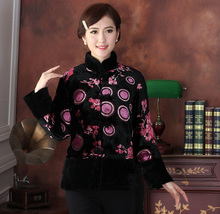 Free Shipping Chinese Women's Velour Embroider Flower With Fur Rabbit Wadded Jacket Coat M L XL XXL 3XL 4XL  TD015