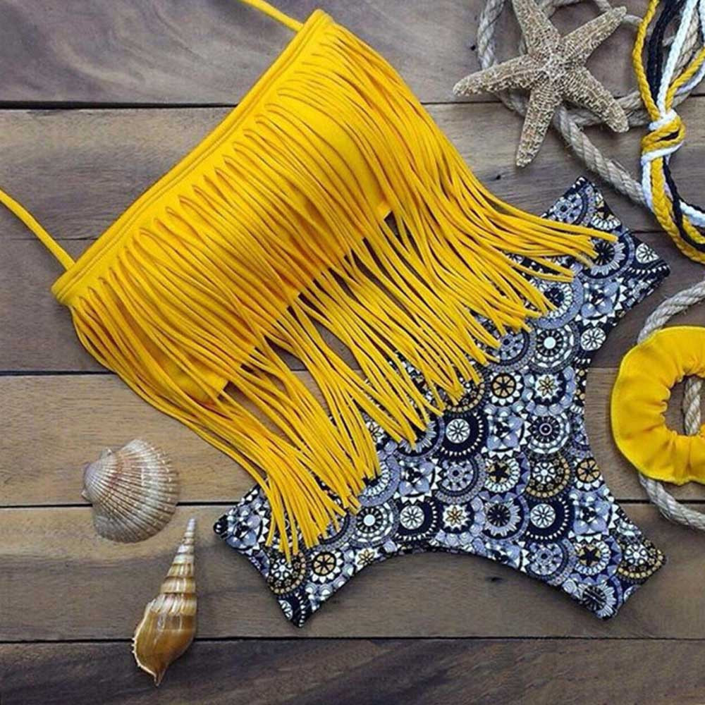 Hot Sale New Padded Biknis Women 2018 Swimming Suit Sexy Halter Beach Bikini Set Plus Size Swimsuit Womens Tassel Bikinis halter crochet tassel bikini