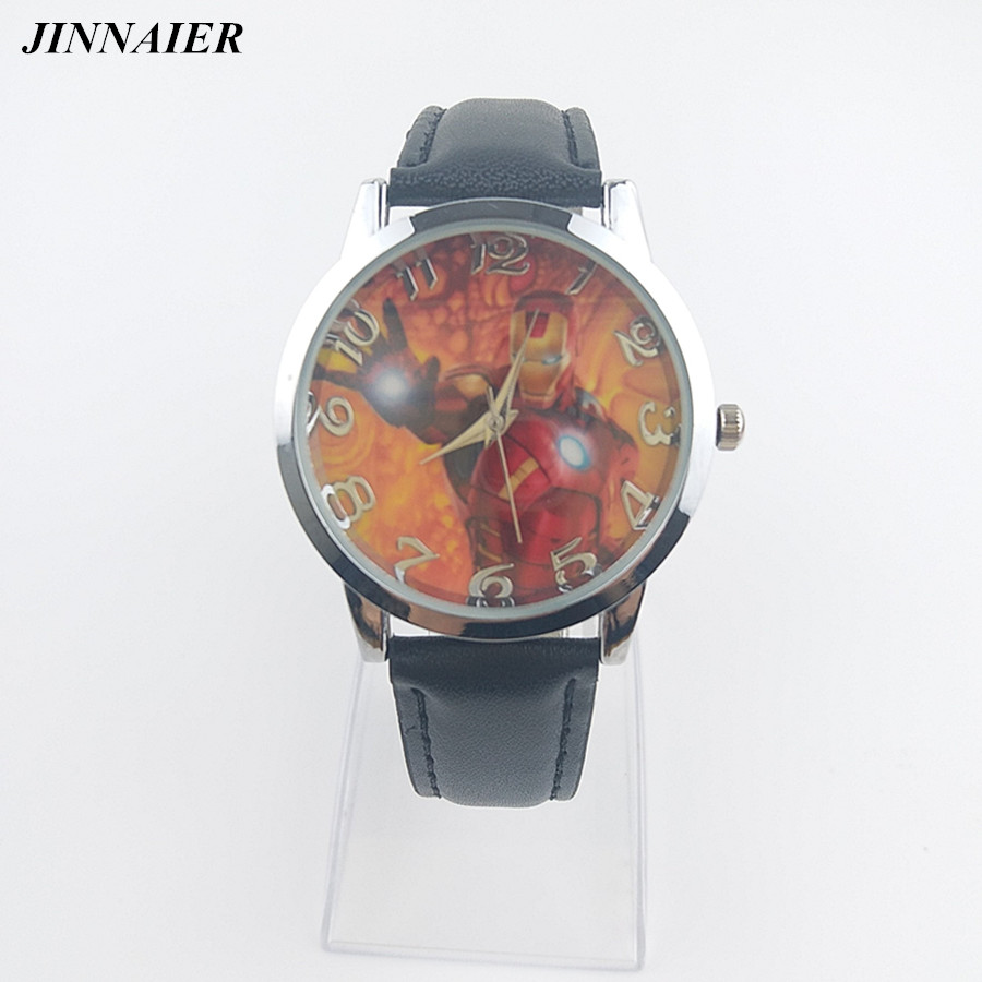 2017 новое поступление популярного мультфильма Черный Кожа PU часы Железный человек для учеников подарки кварцевые наручные часы